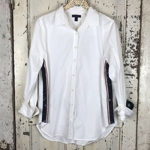 J. Crew Sequin side stripe shirt